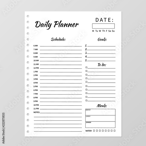 Minimalist daily planner template Blank white notebook page