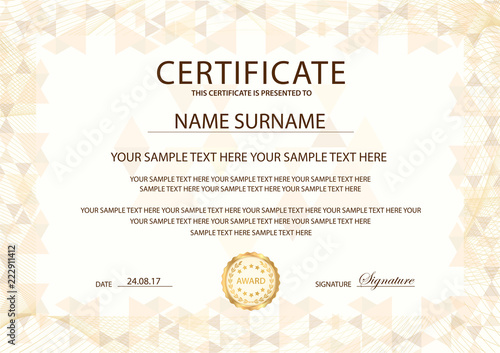 Certificate template with Guilloche frame border Design for Diploma