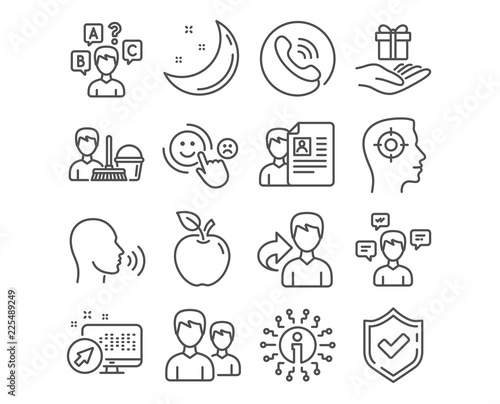 Set of Cleaning service, Job interview and Human sing icons Quiz