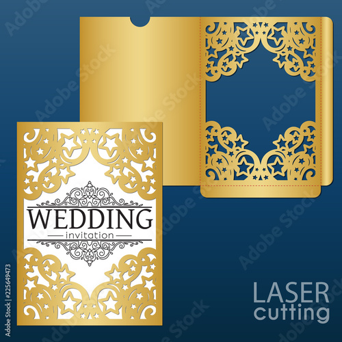 Laser die cut wedding card vector template with pattern of stars and