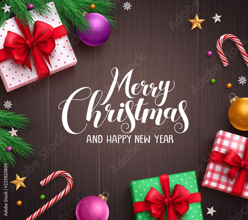 Christmas banner vector background template with merry christmas