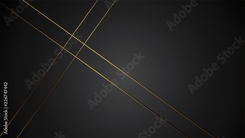 luxury black background banner vector illustration with gold strip