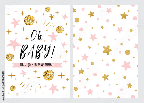 Vector set Baby shower invitation template, backgtround with pink