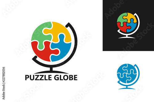 Puzzle Globe Logo Template Design Vector, Emblem, Design Concept