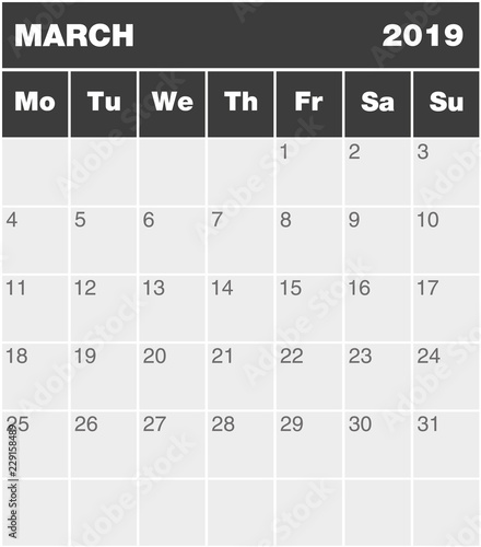 Classic month planning calendar in English for March 2019, Monday to