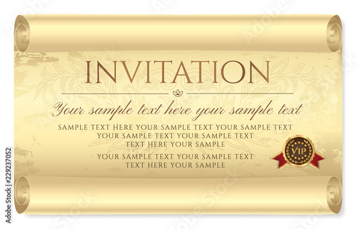 Invitation design Medieval old vintage scroll parchment paper