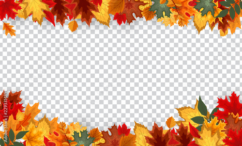 Autumn leaves border frame with space text on transparent background