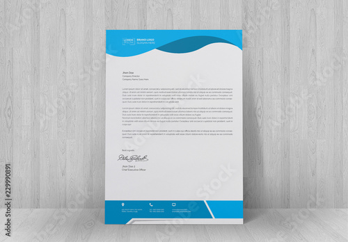 Letterhead Layout with Blue Header and Footer Buy this stock