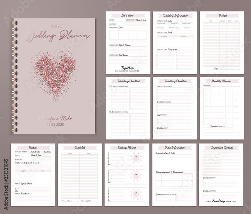 Wedding planner printable design with checklists, important date