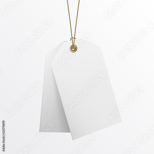 Blank labels template price tags realistic vector close up of blank