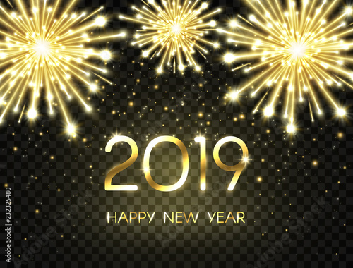 2019 Happy New Year background with glitter, fireworks, sparkles and