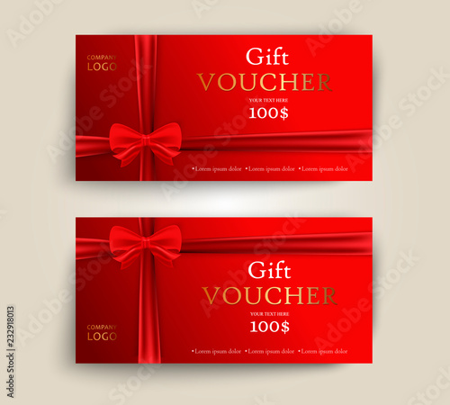 Vector set of luxury red gift vouchers with ribbons and bow Elegant