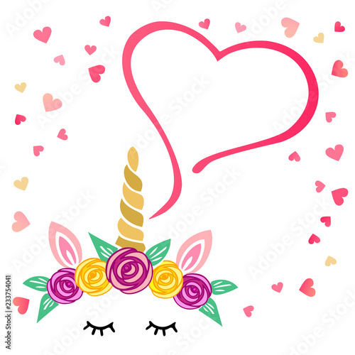 Vector illustration with Unicorn and hearts Template for St