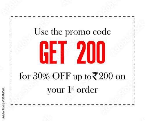 order food online with promo code coupon designs on white background