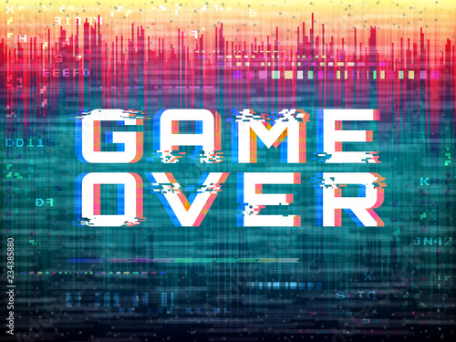 Game over text Video game glitch Color distortions and pixel noise