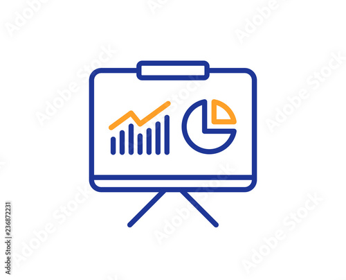 Presentation board line icon Report chart or Sales growth sign
