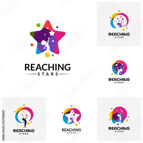 Set of Reaching Stars Logo Design Template Dream star logo Emblem
