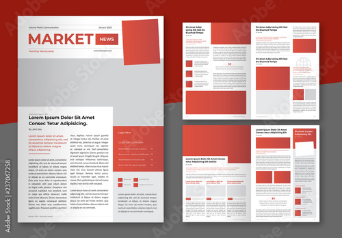 Business Newsletter Layout with Red and Dark Grey Accents Buy this