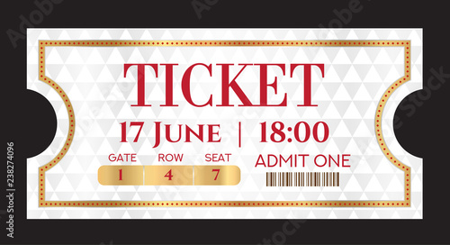 Admission ticket template Vector mockup movie ticket (tear-off