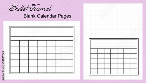 Bullet Journal Monthly Calendar, Blank - Buy this stock illustration