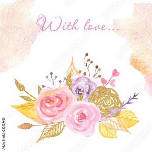 Watercolor card for Valentine\u0027s Day Card with flowers, hearts