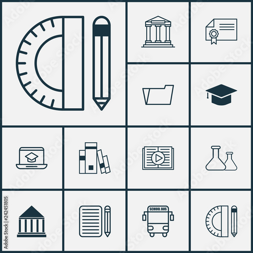 School icons set with school supplies, essay writing, audio book and