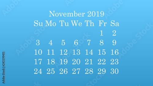 November 2019 Desktop wallpaper Calendar 2019 blue background