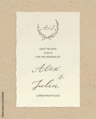 Luxury Alex and Julia wedding invitation card with hand drawn