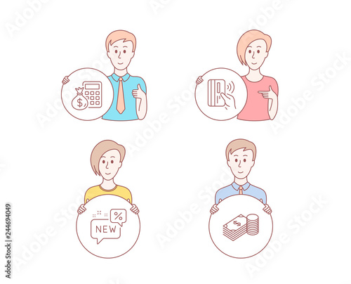 People hand drawn style Set of New, Contactless payment and Finance