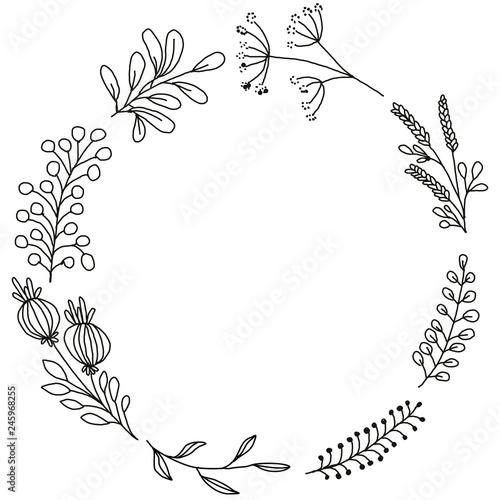 Simple hand made drawing botanical flower and leaf laurel frame