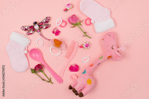 Its a Girl pink theme Baby Shower or Nursery background with
