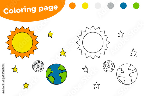 Printable coloring page with solar system Cartoon sun, earth and