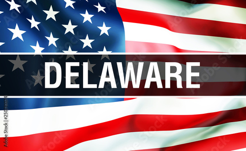 Delaware state on a USA flag background, 3D  United States of