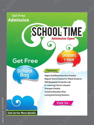 school flyer design template - Buy this stock vector and explore