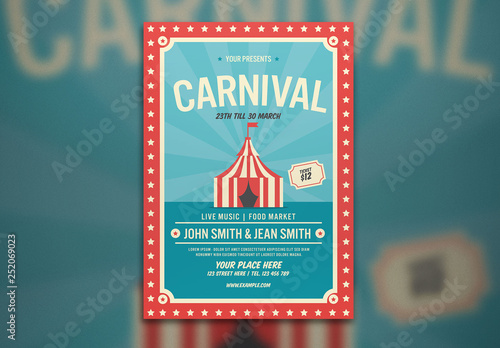 Carnival Flyer Layout with Tent Illustration Buy this stock
