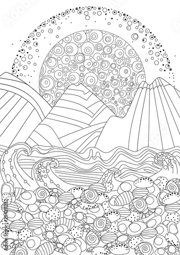 sunrise seascape with stone beach for your coloring page - Buy this