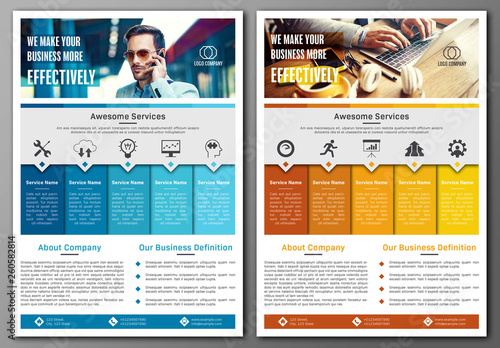 Business Flyer Layout with Blue and Orange Accents Buy this stock