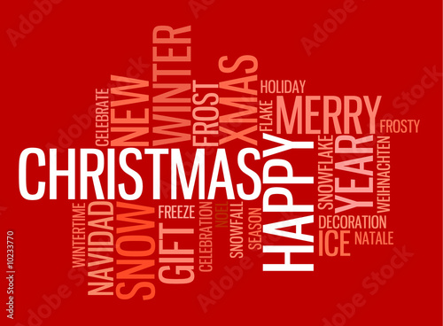 Abstract christmas card with season words on red - Buy this stock