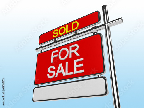 Sold Home For Sale Sign (3d render) - Buy this stock illustration