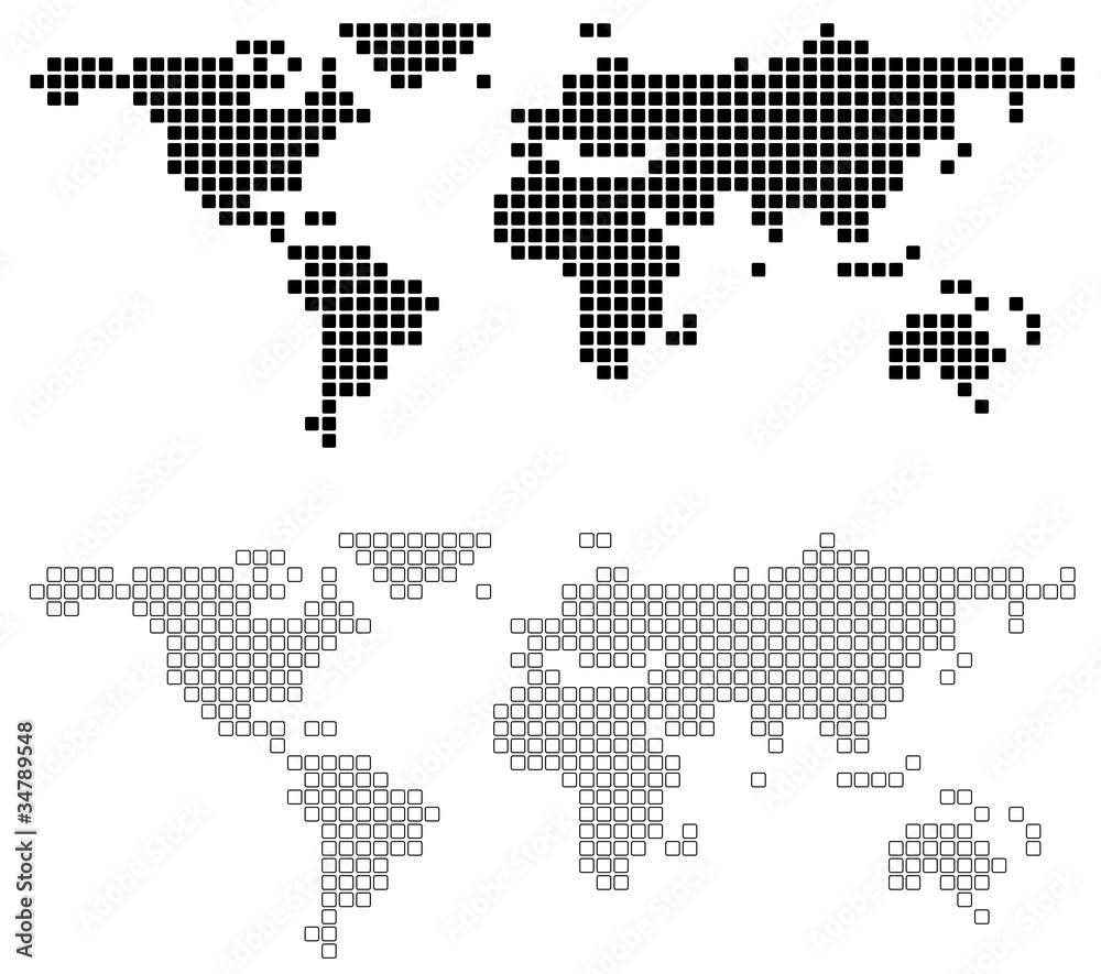Wereldkaart Zwart Wit Canvas Foto Op Aluminium Wereldkaart Abstract World Map Background