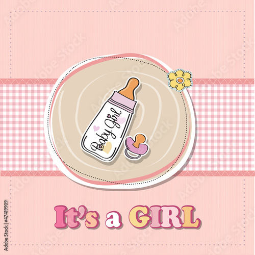 new baby girl announcement card with milk bottle and pacifier - Buy