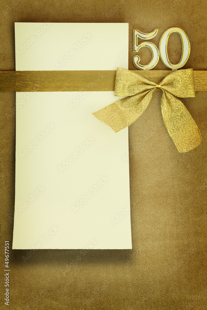 Photo  Art Print Anniversary card on golden background EuroPosters