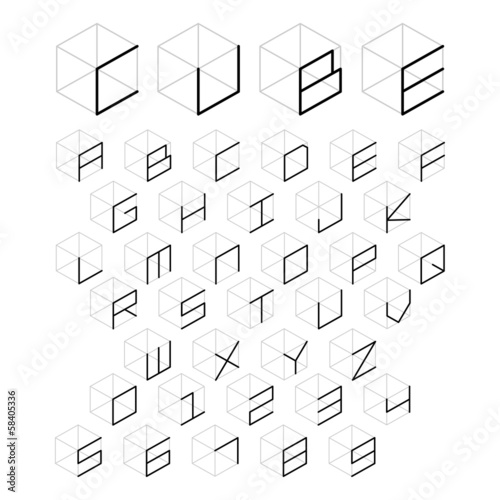 3d cube alphabet and number - Buy this stock vector and explore
