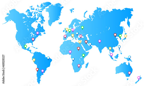 Most Important City Capitals Map Pins On World Map - Buy this stock