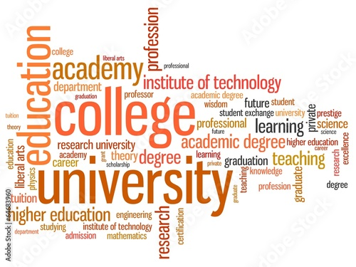 Higher education - informative word cloud illustration - Buy this