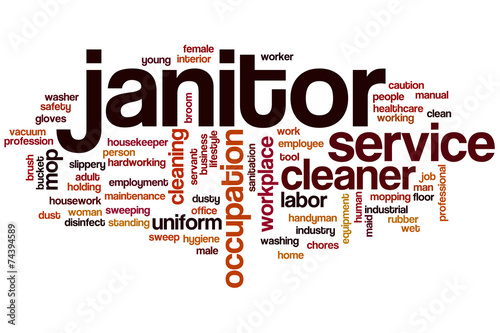 Janitor word cloud - Buy this stock illustration and explore similar
