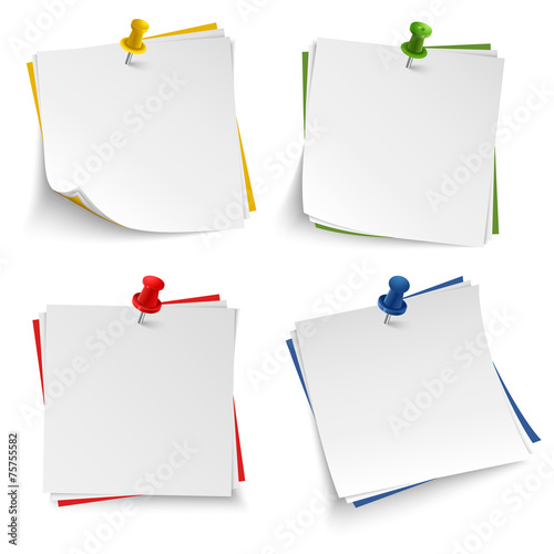 Note paper with push colored pin template - Buy this stock vector - note paper template