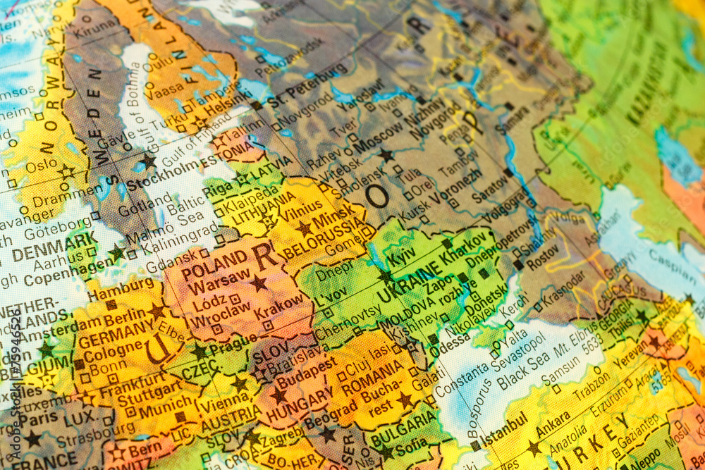 Photo  Art Print map detail globe eastern Europe EuroPosters