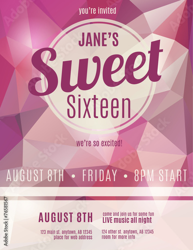 Sweet sixteen party invitation flyer template design - Buy this - invitation flyer sample