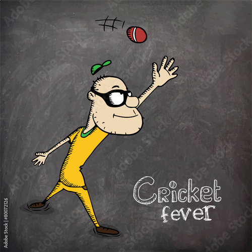 Cartoon of a man trying to catch Cricket ball on chalkboard - Buy